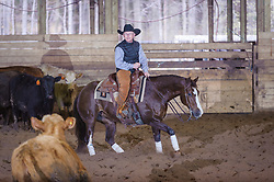April 30 2017 - Minshall Farm Cutting 2, held at Minshall Farms, Hillsburgh Ontario. The event was put on by the Ontario Cutting Horse Association. Riding in the Open Class is Brian Kelly on Scarlet Catdancer owned by Ron Stelzl.