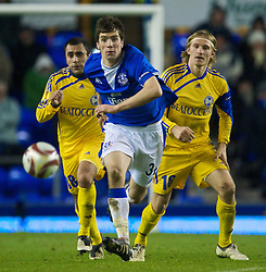 LIVERPOOL, ENGLAND - Thursday, December 17, 2009: Everton's Shane Duffy and FC BATE Borisov's Ogannes Goaryan and Sergei Krivets during the UEFA Europa League Group I match at Goodison Park. (Pic by David Rawcliffe/Propaganda)