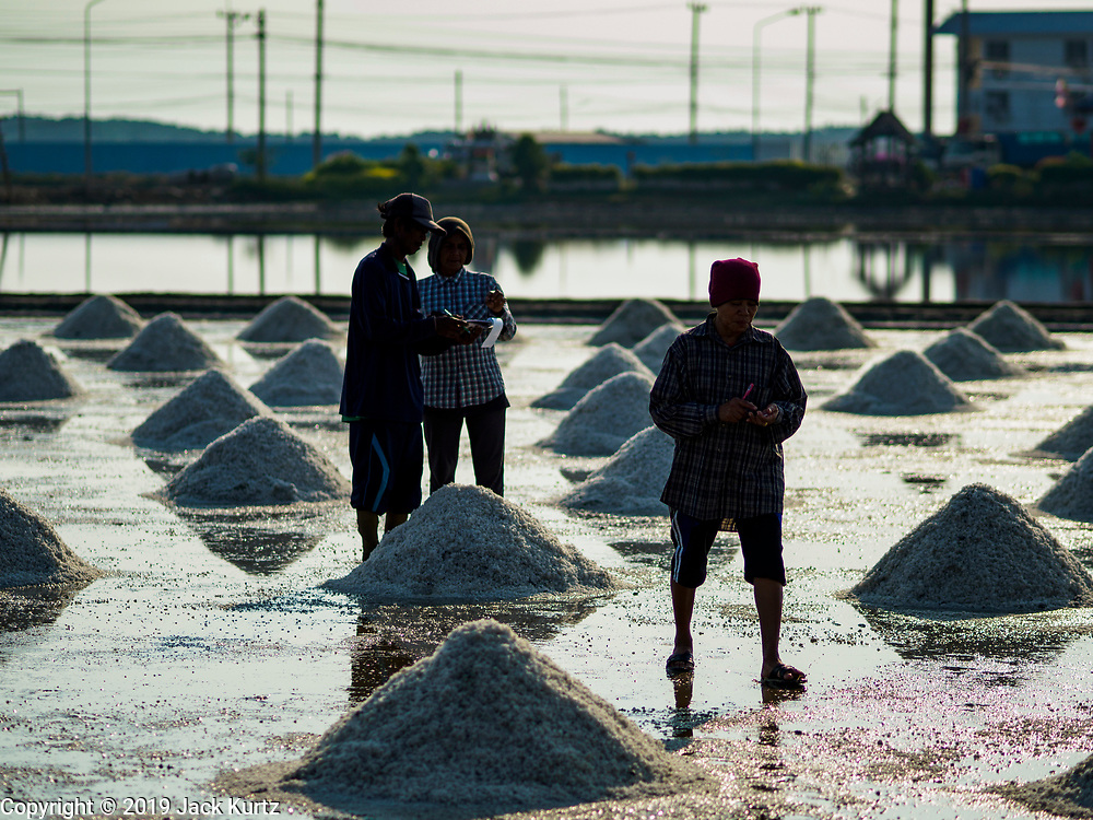 20 FEBRUARY 2019 - BAN LAEM, PHETCHABURI, THAILAND: Supervisors on a salt farm make work assignments on one of the first days of the 2019 salt harvest in Ban Laem, Thailand. Ban Laem's salt fields are expanding because salt harvesters in Samut Sakhon and Samut Songkhram,  closer to Bangkok, are moving to Ban Laem as their land is turned into industrial parks.       PHOTO BY JACK KURTZ