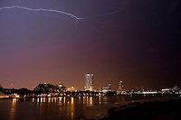Lightning strikes over Milwaukee as severe storms ravage south east wisconsin, June 21, 2010 Milwaukee Wis.  photo by Darren Hauck