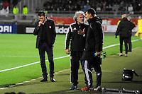 Hubert FOURNIER / Joel BATS / Mathieu GORGELIN  - 12.12.2014 - Lyon / Caen - 18eme journee de Ligue 1 <br />Photo : Jean Paul Thomas / Icon Sport