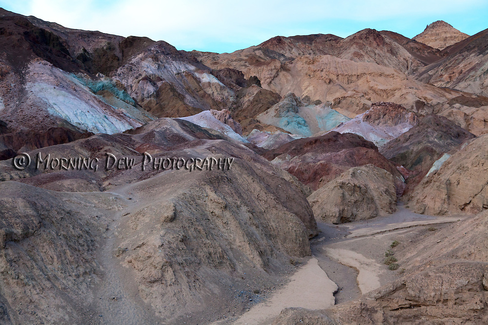 Unusual colored hills from the Artist's Pallet formation in Death Valley National Park.