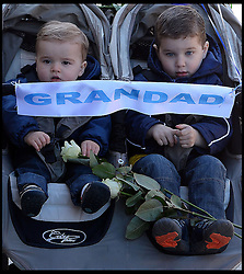Daniel (R ) and Jamie (L). Grandchildren of RMT Bob Crow. Children of Paul Atlee who is married to Crow's eldest daughter Kerrie Atlee.  in Woodford Green, London, United Kingdom. Monday, 24th March 2014. Picture by Andrew Parsons / i-Images