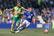Kevin Mirallas (Everton) is fouled during the Barclays Premier League match between Everton and Norwich City at Goodison Park, Liverpool, England on 15 May 2016. Photo by Mark P Doherty.