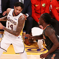 07 January 2018: Los Angeles Lakers forward Brandon Ingram (14) is seen during the LA Lakers 132-113 victory over the Atlanta Hawks, at the Staples Center, Los Angeles, California, USA.