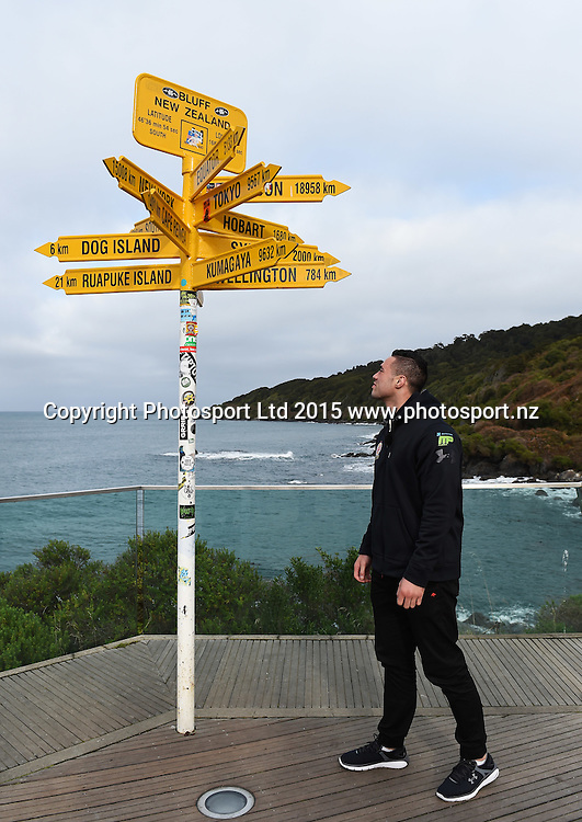 New Zealand Heavyweight boxer Joseph Parker during a visit to the signpost at Stirling Point in Bluff ahead of the Burger King Road to the Title fight in Invercargill, New Zealand. Thursday 30 July 2015. Copyright photo: Andrew Cornaga / www.photosport.nz