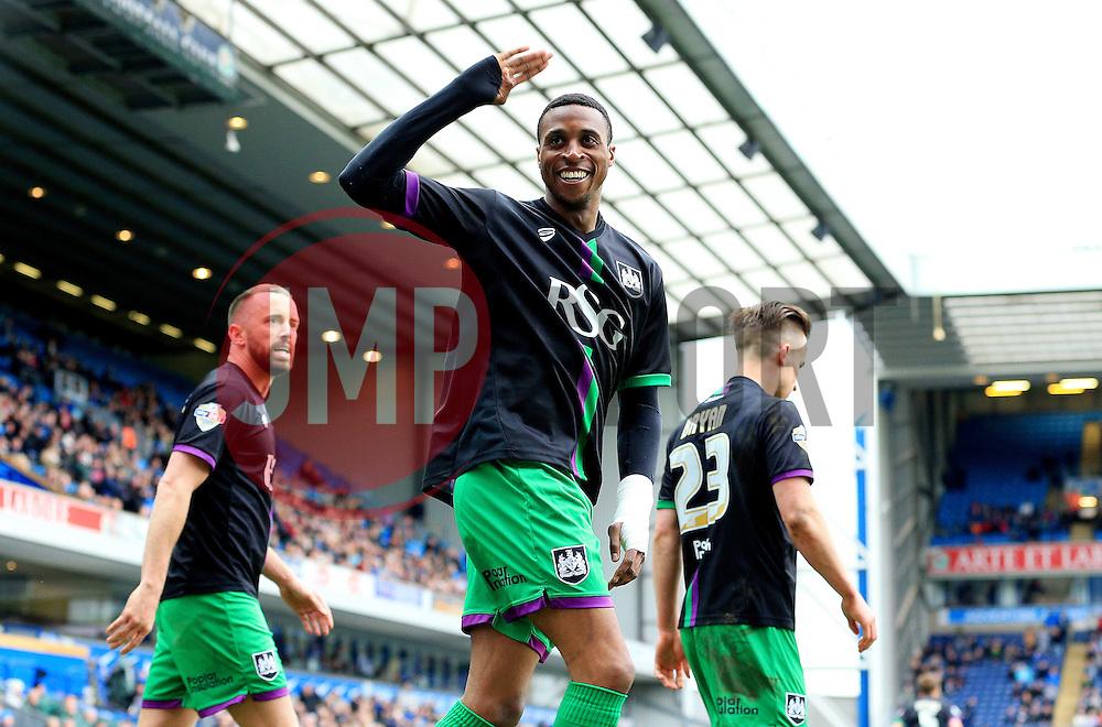 Jonathan Kodjia of Bristol City celebrates after scoring his sides first goal  - Mandatory by-line: Matt McNulty/JMP - 23/04/2016 - FOOTBALL - Ewood Park - Blackburn, England - Blackburn Rovers v Bristol City - Sky Bet Championship