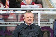 Northampton manager Chris Wilder looking nervous before the Sky Bet League 2 match between Northampton Town and Bristol Rovers at Sixfields Stadium, Northampton, England on 9 April 2016. Photo by Nigel Cole.