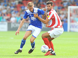 Charlie Lakin of Birmingham City competes with Connor Thomas of Cheltenham Town- Mandatory by-line: Nizaam Jones/JMP - 21/07/2018 - FOOTBALL - Jonny-Rocks Stadium - Cheltenham, England - Cheltenham Town v Birmingham City - Pre-season friendly