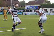 Forest Green Rovers Liam Noble(15) and Forest Green Rovers Fabien Robert(26) celebrate 0-1 during the The FA Cup 4th qualifying round match between Sutton United and Forest Green Rovers at Gander Green Lane, Sutton, United Kingdom on 15 October 2016. Photo by Shane Healey.