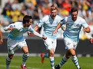 FODBOLD: Mikkel Fossum Basse (FC Helsingør) jubler efter scoringen til 0-1 under kampen i ALKA Superligaen mellem Hobro IK og FC Helsingør den 16. juli 2017 på DS Arena i Hobro. Foto: Claus Birch