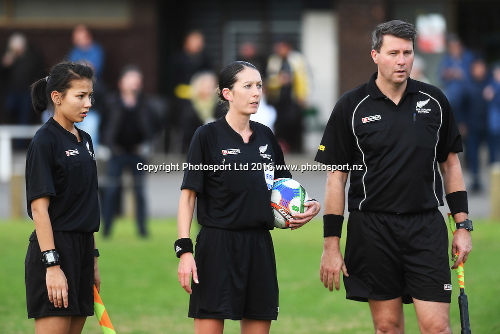 Referee's L_R Morgan Archer, Anne-Marie Keighley and Vaughan Couillault. Chatham Cup Football, Round 2. Eastern Suburbs v Hamilton Wanderers, Madills Farm, Auckland, New Zealand. Monday 6 June 2016©Copyright photo: Andrew Cornaga/www.photosport.nz