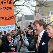 NLD/Utrecht/20130411 - Oranjes bij 300 jaar Vrede van Utrecht, aankomst Konining Beatrix, Prinses Maxima en kroonprins Willem-Alexander