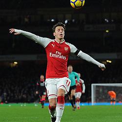 Mesut Özil of Arsenal gets ready to control the ball during Arsenal vs Huddersfield, Premier League, 29.11.17 (c) Harriet Lander | SportPix.org.uk