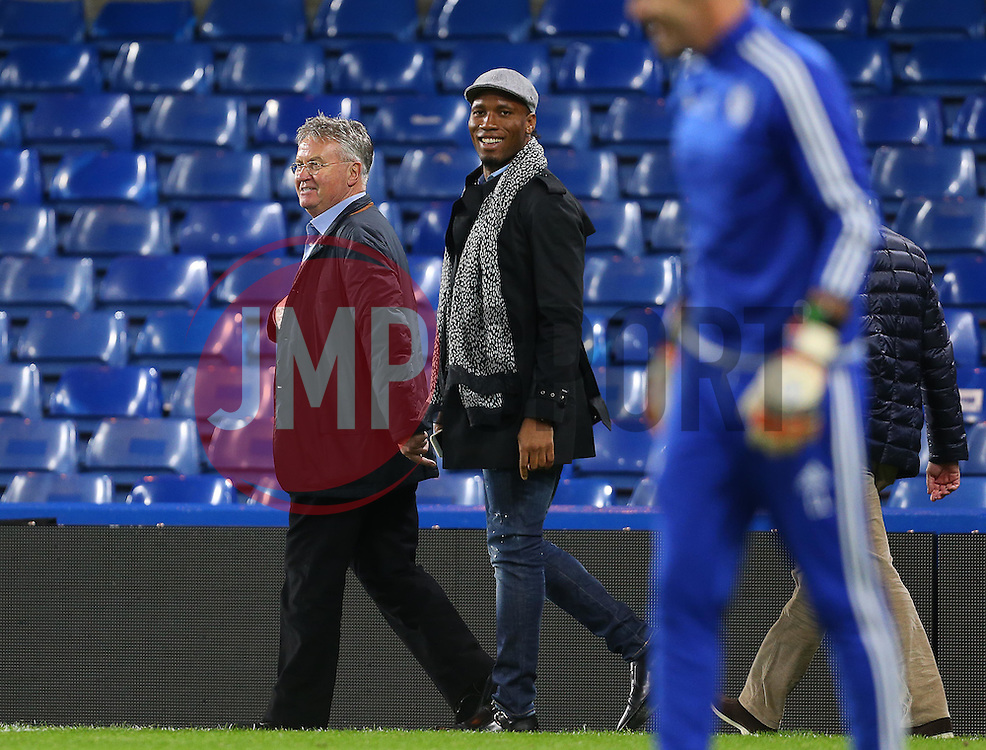 Newly appointed Chelsea Manager, Guus Hiddink ( L )  and Didier Drogba after the match - Mandatory byline: Paul Terry/JMP - 07966 386802 - 19/12/2015 - FOOTBALL - Stamford Bridge - London, England - Chelsea v Sunderland - Barclays Premier League