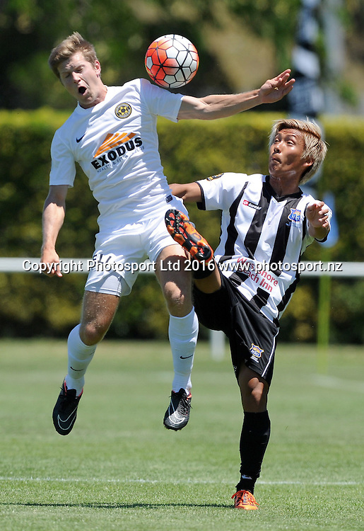 Team Wellington's Andy Bevin and Hawkes Bay United's Kohei Matsumoto compete for the ball in the ASB Premiership match, Hawkes Bay United vs Team Wellington, Bluewater Stadium, Napier, Sunday, January 10, 2016. Copyright photo: Kerry Marshall / www.photosport.nz
