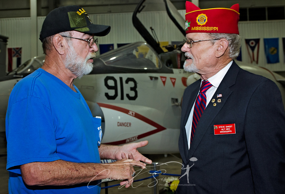 Veteran James Fitzgerald shares stories of his VA experiences with Alternate National Executive Committeeman Steve Sweet during the Mobile SWS Town Hall at USS Alabama Battleship Memorial Park in Mobile, Ala., on Friday, April 3, 2017. (Photo by Carmen K. Sisson/Cloudybright)
