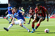 Joshua King (7) of AFC Bournemouth is challenged by Seamus Coleman (23) of Everton during the Premier League match between Bournemouth and Everton at the Vitality Stadium, Bournemouth, England on 15 September 2019.