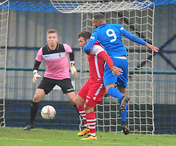 AFC DUNSTABLE NATHAN FRATER TRIES TO GET PAST EGHAMS DEFENCE, AFC Dunstable v Egham Town, Evo Stik South East League Creasey Park Saturday 18th November 2017 Score 6-1, Photo:Mike Capps.