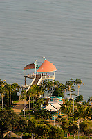 Looking down on the Townsville Strand Jetty from the summit of Castle Hill.