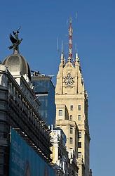 THEMENBILD - Madrid ist seit Jahrhunderten der geographische, politische und kulturelle Mittelpunkt Spaniens (siehe Kastilien) und der Sitz der spanischen Regierung. Hier residieren auch der König, ein katholischer Erzbischof sowie wichtige Verwaltungs- und Militärbehörden. Als Handels- und Finanzzentrum hat die Stadt nationale und internationale Bedeutung. Hier im Bild Edificio Telef??nica, erstes Hochhaus Europas, Prachtstrasse Calle Gran Via // THEMATIC PACKAGES - Madrid is the capital and largest city of Spain. The population of the city is roughly 3.3 million and the entire population of the Madrid metropolitan area is calculated to be around 6.5 million. It is the third-largest city in the European Union, after London and Berlin, and its metropolitan area is the third-largest in the European Union after London and Paris. The city spans a total of 604.3 km2. EXPA Pictures © 2014, PhotoCredit: EXPA/ Eibner-Pressefoto/ Weber<br /> <br /> *****ATTENTION - OUT of GER*****
