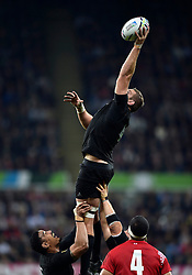 Luke Romano of New Zealand wins the ball at a lineout - Mandatory byline: Patrick Khachfe/JMP - 07966 386802 - 09/10/2015 - RUGBY UNION - St James' Park - Newcastle, England - New Zealand v Tonga - Rugby World Cup 2015 Pool C.