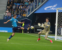 August 27, 2017 - Saint Petersburg, Russia - Of The Russian Federation. Saint-Petersburg. Arena Saint-Petersburg. Zenit-arena. Football. The championship of Russia on football 2017/2018. FC Zenit - FC Rostov. 0:0. The player of football club ''Zenit''..Alexander Kokorin and The player of football club ''Rostov'' Sergey pesyakov. (Credit Image: © Russian Look via ZUMA Wire)
