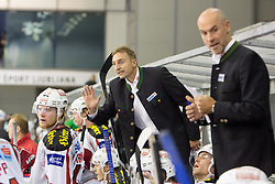 05.10.2012. Hala Tivoli, Ljubljana, SLO, EBEL, HDD Telemach Olimpija Ljubljana vs EC KAC, 09. Runde, in picture Christian Weber, head coach of EC KAC, and Christer Olsson, assistant coach of EC KAC, during the Erste Bank Icehockey League 9th Round match betweeen HDD Telemach Olimpija Ljubljana and EC KAC at the Hala Tivoli, Ljubljana, Slovenia on 2012/10/05. (Photo By Matic Klansek Velej / Sportida)