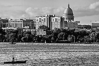 City Skyline on Monona Bay (monochrome)