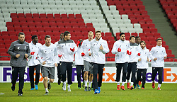 KAZAN, RUSSIA - Wednesday, November 4, 2015: Liverpool's James Milner, Dejan Lovren, Martin Skrtel, Adam Lallana, Emre Can, Pedro Chirivella Joe Allen training at the Kazan Arena ahead of the UEFA Europa League Group Stage Group B match against FC Rubin Kazan. (Pic by Oleg Nikishin/Propaganda)