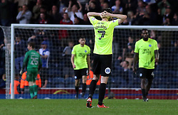 Gwion Edwards of Peterborough United cuts a dejected figure after Blackburn Rovers score their third goal of the game - Mandatory by-line: Joe Dent/JMP - 19/04/2018 - FOOTBALL - Ewood Park - Blackburn, England - Blackburn Rovers v Peterborough United - Sky Bet League One