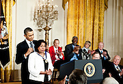 President Barack Obama awards the Medal of Freedom to  Sylvia Mendez during a ceremony in the East Room of the White House in Washington DC on February 15, 2011. Photo by Kris Connor
