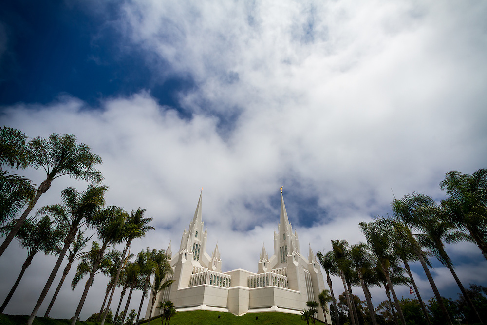 The gorgeous building that is the San Diego LDS Temple on a warm Summer day in sunny Southern California.