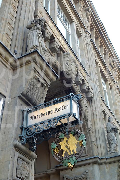 Deutschland, Leipzig,  Mädler Passage, Leuchtschild von Auerbachs Keller|Deutschland, Leipzig, Mädler Passage (historic shopping mall)