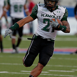 Sep 30, 2009; Ruston, LA, USA; Hawaii Warriors wide receiver Kealoha Pilares (21) in warm ups prior to a game against the Louisiana Tech Bulldogs at Joe Aillet Stadium. Louisiana Tech defeated Hawaii 27-6. Mandatory Credit: Derick E. Hingle-US PRESSWIRE