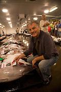 Chef Mavro, George Marvrothalassitis at fish auction, Honolulu, Oahu, Hawaii