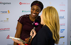 October 25, 2018 - Kallang, SINGAPORE - Sloane Stephens of the United States backstage after winning her second match at the 2018 WTA Finals tennis tournament (Credit Image: © AFP7 via ZUMA Wire)