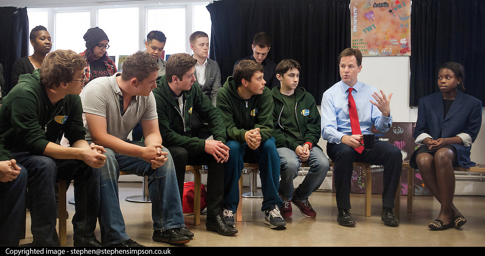 © Licensed to London News Pictures. 27/05/2014. London, UK Deputy Prime Minister Nick Clegg conducts a Q&A with young people at a youth club in Westminster, on Tuesday 27 May, to talk about the support available for them as he launches a scheme to give 16 and 17-year-olds access to work coaches so that they can get individual help to find work and training.. Photo credit : Stephen Simpson/LNP