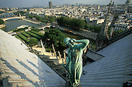 France. Paris. Notre Dame cathedral. Violet Leduc statue. view from the spire of Notre dame cathedral  . The spire dominates the verdigris copper statues of the twelve apostles with the symbols of the four evangelists. Viollet-le-Duc represented himself as Saint Thomas holding a square. He seems to be contemplating the top of his Great Work