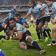 Wycliffe Palu is pushed into touch by Pierre Spies during the Super 14 match between the Waratahs and the Bulls at the Sydney Football Stadium, Sydney, Australia on April 11, 2009.  Photo Tim Clayton