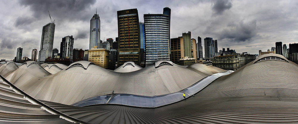 Southern Cross Station roof and skyline.  Pic By Craig Sillitoe melbourne photographers, commercial photographers, industrial photographers, corporate photographer, architectural photographers, This photograph can be used for non commercial uses with attribution. Credit: Craig Sillitoe Photography / http://www.csillitoe.com<br />