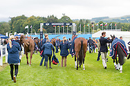 Team GBR prepare to enter the arena for the first horse inspection - First Horse Inspection - Longines FEI European Eventing Championships - Blair Castle, Scotland - 09 September 2015