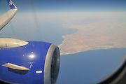 Aerial view of Cyprus from within the cabin of of a Travel Service Airlines (Czech Republic) Boeing 737-800