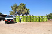 Israel, Public restrooms chemical toilets in an open air event,