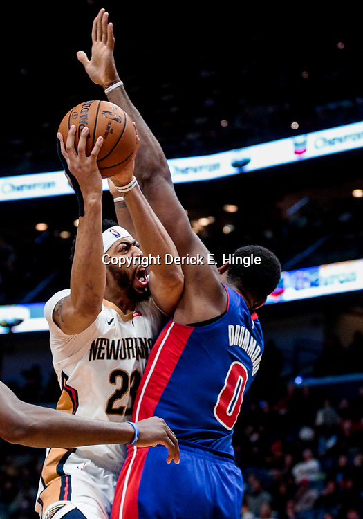 Jan 8, 2018; New Orleans, LA, USA; New Orleans Pelicans forward Anthony Davis (23) shoots over Detroit Pistons center Andre Drummond (0) during the second half at the Smoothie King Center. The Pelicans defeated the Pistons 112-109. Mandatory Credit: Derick E. Hingle-USA TODAY Sports