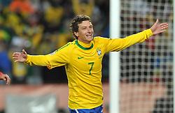 Football - soccer: FIFA World Cup South Africa 2010, Brazil (BRA) - Korea DPR (PRK), Elano esulta dopo il gol