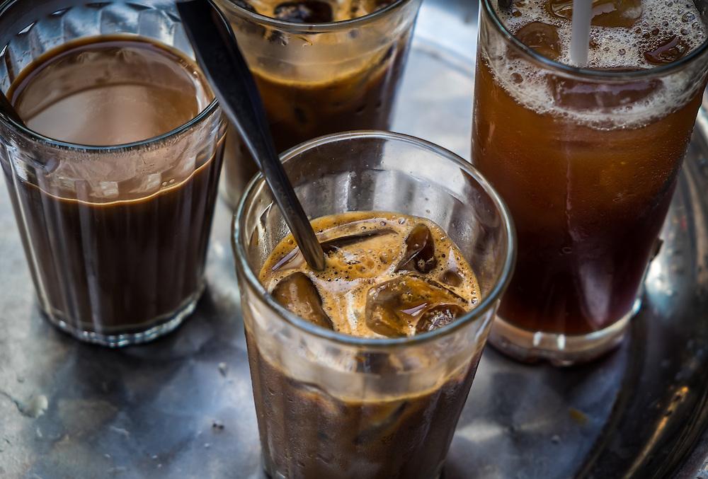 HANOI, VIETNAM - CIRCA SEPTEMBER 2014:  Cold coffee in the streets of Hanoi, Vietnam.