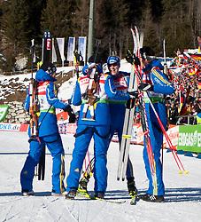 22.01.2011, Südtirol Arena, Antholz, ITA, IBU Biathlon Worldcup, Antholz, Relay Women, im Bild Jubel bei der Staffel aus Sweden nach Platz zwei, Jenny Jonsson (SWE) // Jenny Jonsson (SWE), Anna Carin Zidek (SWE) // Anna Carin Zidek (SWE), Anna Maria Nilsson (SWE) // Anna Maria Nilsson (SWE), Helena Ekholm (SWE) // Helena Ekholm (SWE) celebrate Place two during IBU Biathlon World Cup in Antholz, Italy, EXPA Pictures © 2011, PhotoCredit: EXPA/ J. Feichter