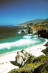 California: Monterey Region.  Beach in Big Sur.  Photo #: camon4102..Photo copyright Lee Foster, 510/549-2202, lee@fostertravel.com, www.fostertravel.com