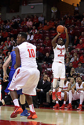 31 December 2014:  Daishon Knight stands all alone to shoot a 3 pointer during an NCAA Division 1 Missouri Valley Conference (MVC) men's basketball game between the Indiana State Sycamores beat the Illinois State Redbirds 63-61 at Redbird Arena in Normal Illinois